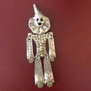 Vintage sterling & gold articulated clown pin